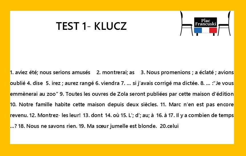 francuski test 1 klucz