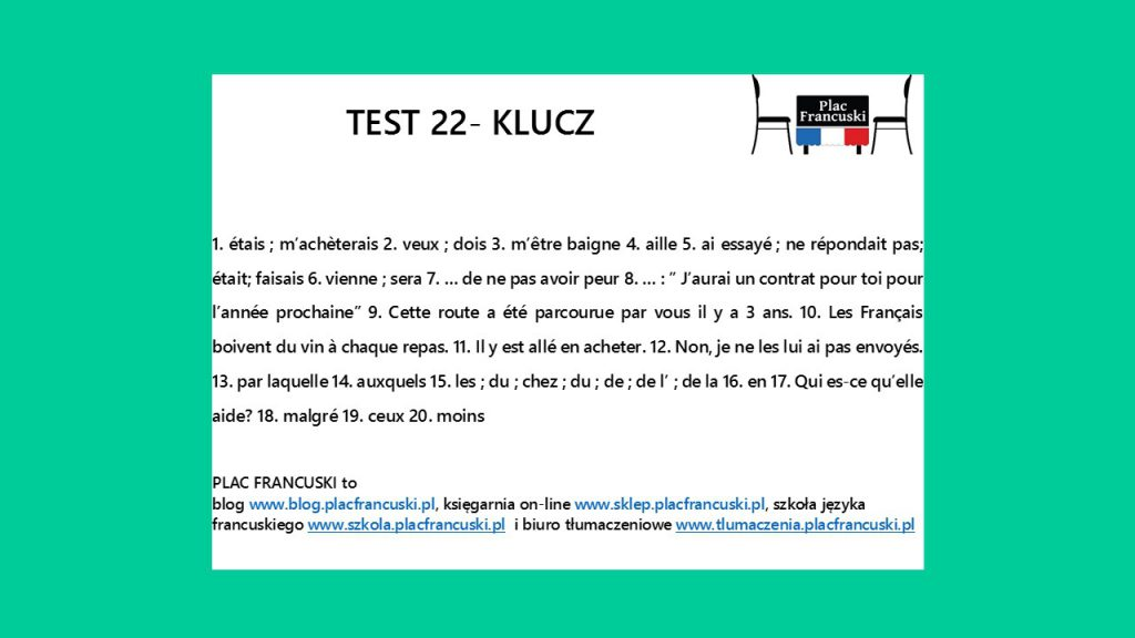 francuski test 22 klucz