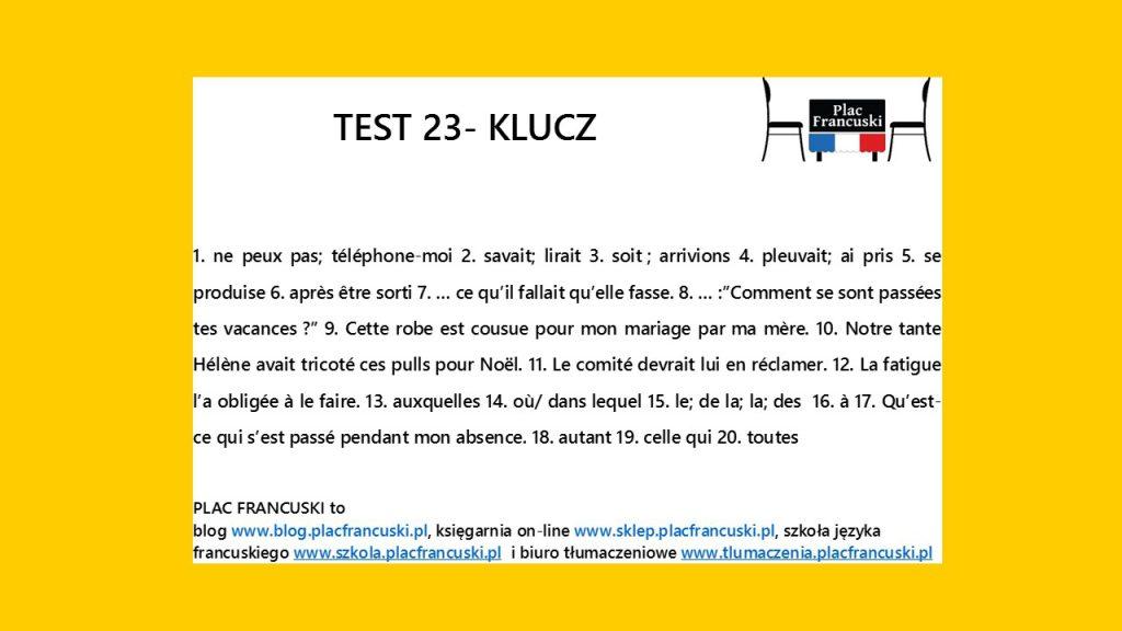 francuski test 23 klucz