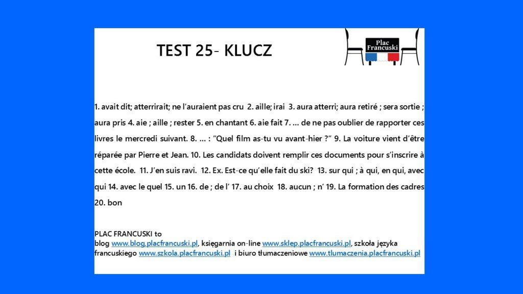 francuski test 25 klucz