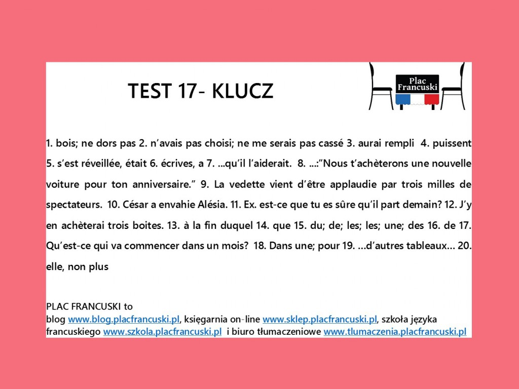 francuski test 17 klucz