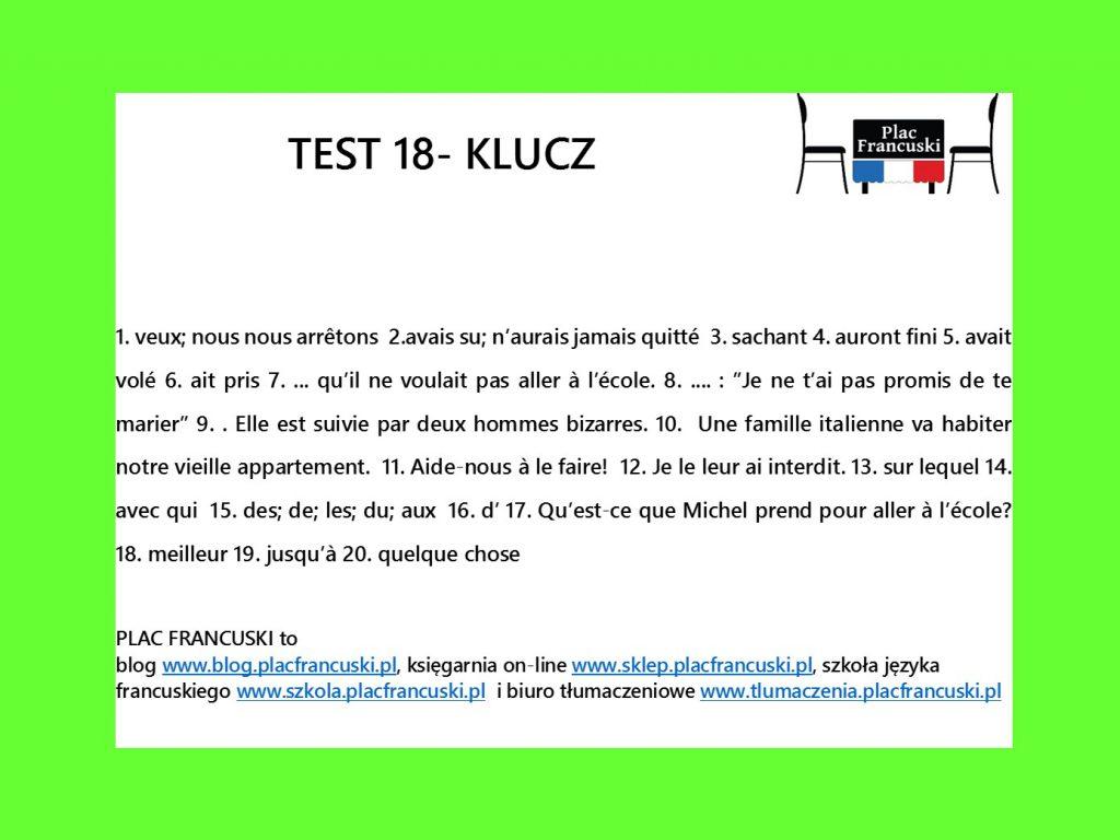 francuski test 18 klucz